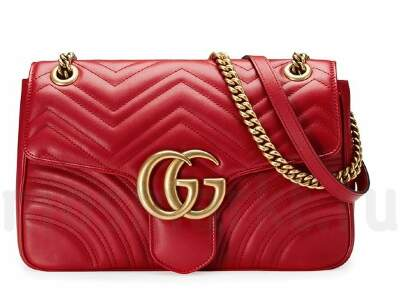 GUCCI GG Marmont Matelasse Shoulder Red